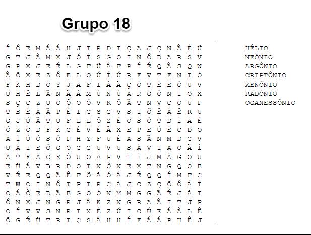 elementos do grupo 18