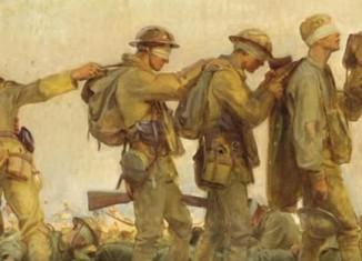 soldados vendados após sofrer ataque por gas cloro