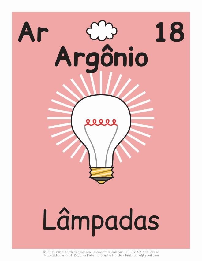 elemento argônio em lâmpadas