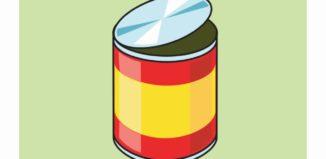 usado em latas de alimentos