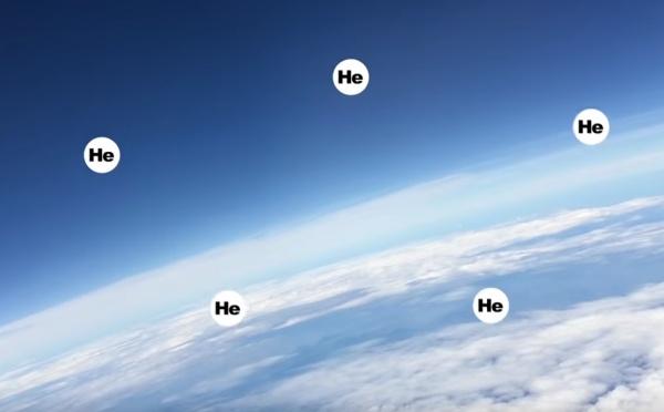 ilustração divertida de hélio escapando para o espaço